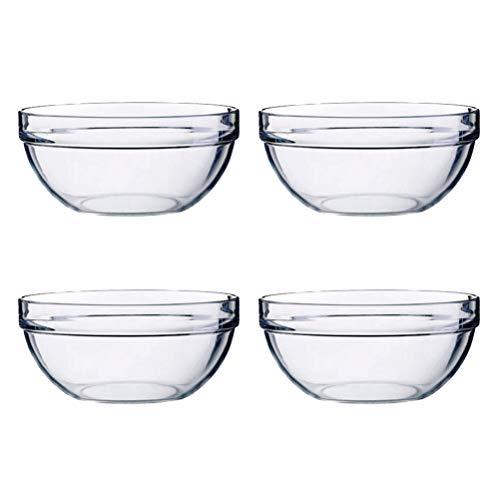 BESTONZON 4pcs bol à salade acrylique épaissir bol rond transparent pour servir snack de fruits aux légumes (14x6cm)