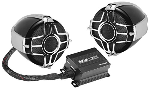 BOSS Audio Systems MC440B Motorcycle Weatherproof Speaker System - Bluetooth 2 Channel Compact Amplifier, 3 Inch Speakers, Volume Control, Use With ATV UTV and 12 Volt Vehicles