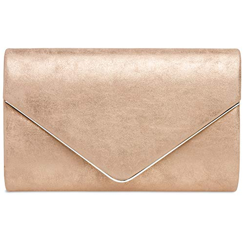 Caspar TA349 Damen elegante Clutch Tasche Abendtasche mit langer Kette, Farbe:roségold, Größe:One...