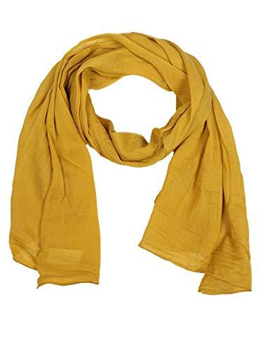 Zwillingsherz Seiden-Tuch für Damen Mädchen Uni Elegantes Accessoire/Baumwolle/Seiden-Schal/Halstuch/Schulter-Tuch oder Umschlagstuch einsetzbar - gelb