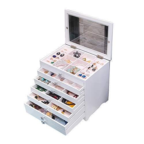 Joyero de madera con cajón para joyas, caja de almacenamiento de joyas, caja de almacenamiento para pendientes, organizador de armería, collar, pulsera, soporte de almacenamiento vintage