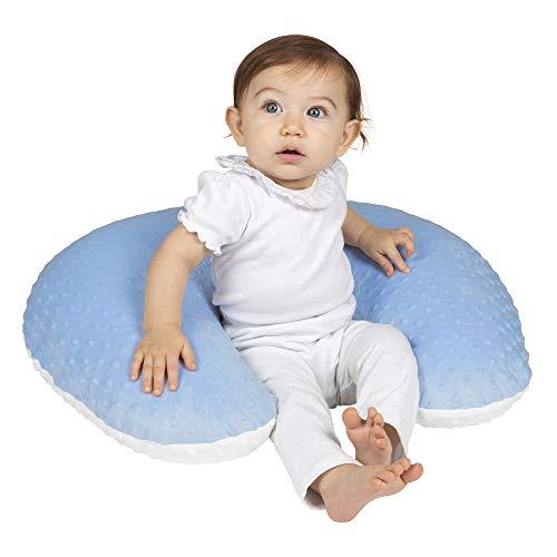 Almohada de lactancia Premium - Cojín amamantar (Azul con blanco)