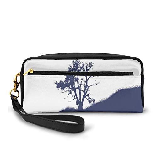 Pencil Case Pen Bag Pouch Stationary,Silhouette of Lonely Tree by Lake with Mirror Effects Melancholy Illustration,Small Makeup Bag Coin Purse