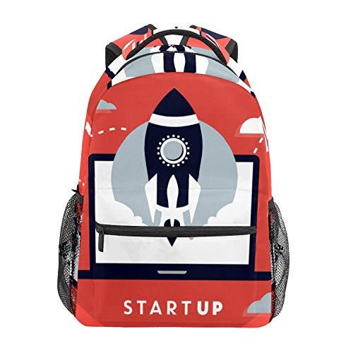 Business Startup con Rocket Rosso Scuola Zaino Grande Capacità Tela Zaino Satchel Casual Viaggio Daypack per Bambini Adulti Teen Donne Uomini