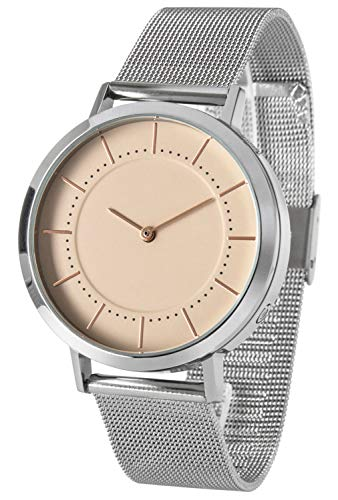 Funk-Armbanduhr Damen, Edelstahlgehäuse und -Armband