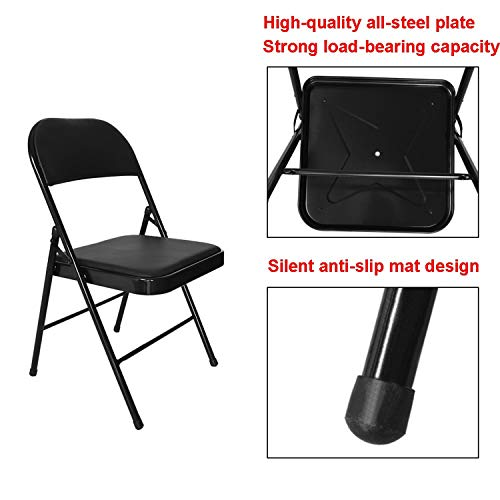 Folding Chair, Steel Frame Vinyl Seat and Back Support Folding Chair Furniture with Double Brace, 600 lbs Capacity, Black Metal Plastic Office Chair Computer Task Chair