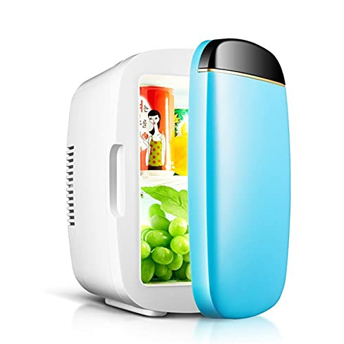 Mini Fridge 6 Liter Portable Refrigerators 2-in-1 Cooling and Heating Function Fridge, Small Freezer for Cosmetics, Bedroom, Office, Car, Travel, AC/DC Minibar,Blue