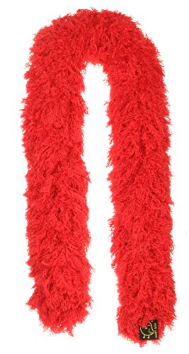 Featherless Super-Sized Faux Feather Boa (Made of Yarn) – U.S. Patent # D814,740. Cut to Length. Made in America (Regular, Red)