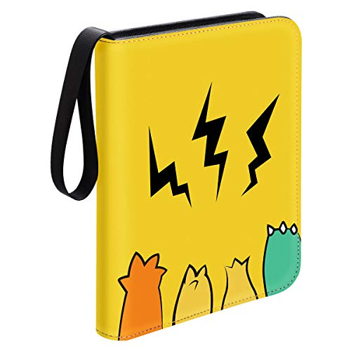 Geecow 4-Pocket Binder Compatible with Pokemon Cards, Portable Storage Case with Removable Sheets Holds Up to 400 Cards-Trading Cards Collectors Album for Pokemon, Yellow image