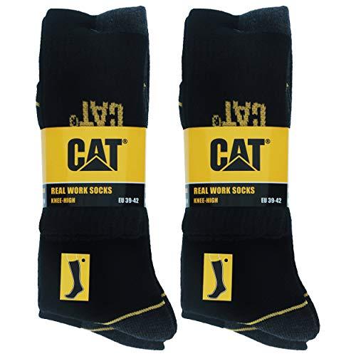 Caterpillar Real Work Knee-High Socks 4 Paia Calze Lunghe da Lavoro Antinfortunistiche Rinforzate su Tallone e Punta Filati di Ottima Qualità Spugna di Cotone (Nero, 3942)