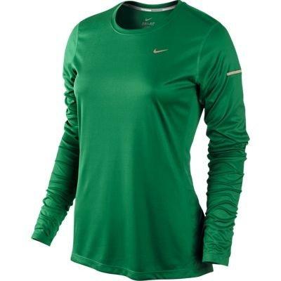 Nike Miler T-Shirt à Manches Longues pour Femme XL Vert pin/argenté réfléchissant