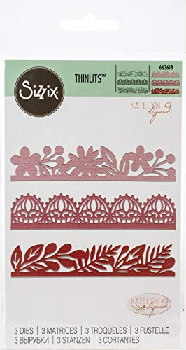 Sizzix Set di Fustelle Thinlits 663618 3 pz Bordi Decorativi by Katelyn Lizardi, Multicolore, Taglia Unica