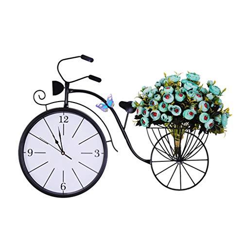 GXCGT Wandklok, eenvoudig, creatief design van de fiets van smeedijzer, 20 inch decoratieve klok, spiegel van glas, geluidsarm, voor slaapkamer, kantoor, klok