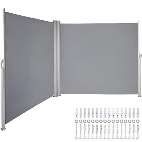 VEVOR Toldo Solar Retráctil, Pantalla de Alta Privacidad 180X600cm, Protector Solar a Prueba de Viento para Patio Jardín Terraza Gris