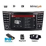 Autoradio DAB+ Radio RDS Bluetooth CD DVD Player GPS Bildschirm Spiegel für Mercedes-Benz E-W211/E200/E220/E280 Lenkradsteuerung