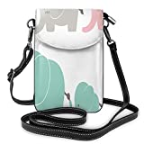 Jiger Women Small Cell Phone Purse Crossbody,Family Love Theme Cute Sweet Elephants Mothers Day Theme Baby Children
