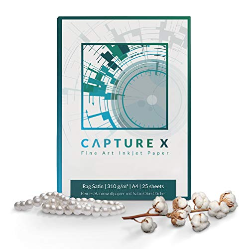 CAPTURE X Rag Satin, 310g/m², A4, 25 Blatt Box - Seidenglanz - 100% Baumwolle - Fine Art Paper