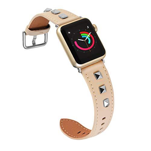 Ribivaul Compatibel voor Apple Horloge Vrouwen Echt Lederen Vervanging Horloge Band 3D Studs Spikes klinknagels Rock Punk Metalen Adapter Gesp voor iWatch Series 4/3/2/1, 42mm/44mm, Kleur: wit