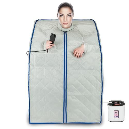 qilliinn Lightweight Portable Personal Steam Sauna Spa for Weight Loss, Detox, Relaxation at Home, 60 Minute Timer, 800-1000 Watt Steam Generator, Chair Included