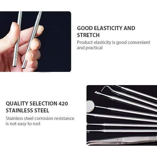 Tenozek 7 PCS Dental Tools Stainless Steel Dental Hygiene Kit, Dental Pick,Tooth Scraper Plaque Tartar Remover, Teeth Cleaning Tools for Oral Care&Pet Use Black