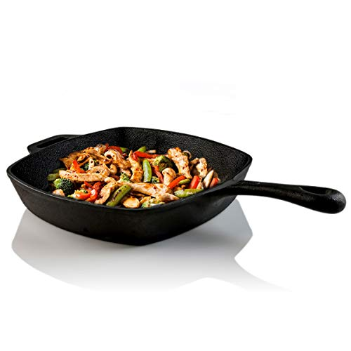 Ovente Square Cast Iron Grill Pan 10 Inch with Pre Seasoned Non Stick Griddle, Secure-Grip Handle Cookware for Grilling, Frying and Sauteing, Perfect for Meat, Bacon, Black (CWC2307001B)