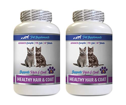 cat Wellness Treats - Best Healthy Hair and Coat Supplement for Cats - Advanced Complex - Nail Health - cat Skin and Itch Relief Treats - 2 Bottles (120 Tablets)