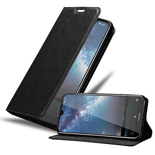 Cadorabo Hülle für Nokia 2.2 in Nacht SCHWARZ - Handyhülle mit Magnetverschluss, Standfunktion & Kartenfach - Hülle Cover Schutzhülle Etui Tasche Book Klapp Style