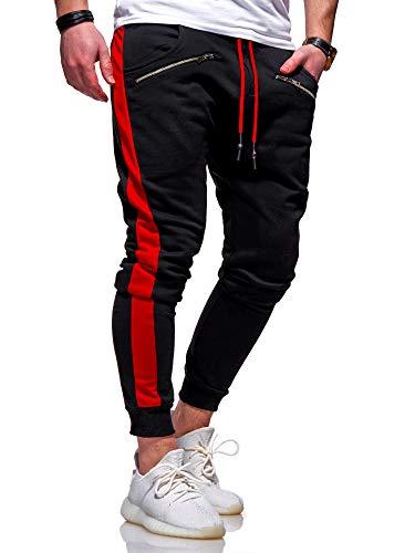 behype. Herren Lange Trainingshose Jogging-Hose Sport-Hose Zipper Side-Stripe 60-0361 Schwarz-Rot L