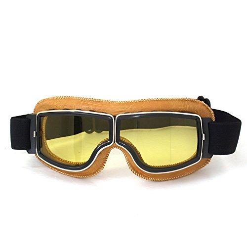 Vintage Motorradbrillen Schutzbrille Augenschutz Brille, gelb/gelb Brillenglas