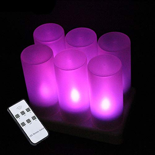 EuroFone flameless LED Candle Light, 4 flameless LED Candle Lights with Remote Control, Realistic Flame Flashing, Ideal for Parties/Wedding/Birthdays/Holidays (Purple)