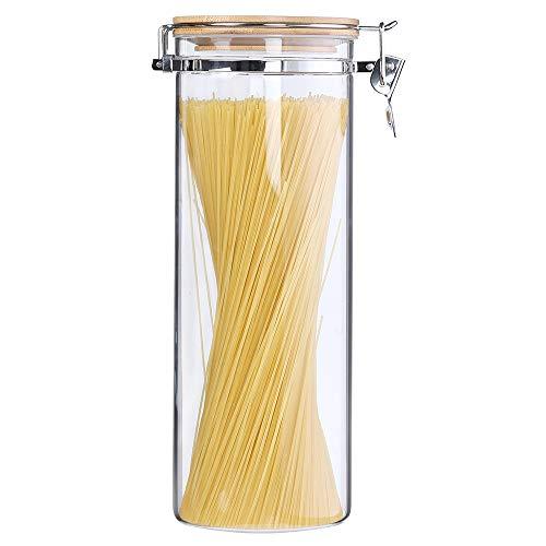 KKC Aufbewahrung Spaghetti Glas mit Bambusdeckel Luftdicht - Spaghetti Dosen Glas 2L für 1,5kg Spaghetti-Vorratsdosen Glas für Spaghetti,Pasta, Nudel Glasbehälter