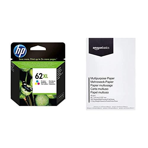 HP 62XL C2P07AE Cartuccia Originale per Stampanti HP a Getto d'inchiostro, Tricomia & Amazon Basics Carta da stampa multiuso A4 80gsm, 1 risma, 500 fogli, bianco