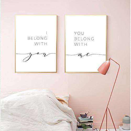 Appartengo a te Tu appartieni a me Segno Stampe Citazioni Camera da letto Arte Pittura su tela Immagine da parete Poster nordici Decorazioni per la casa 70x90cm (28x35in) x2Pcs Senza cornice