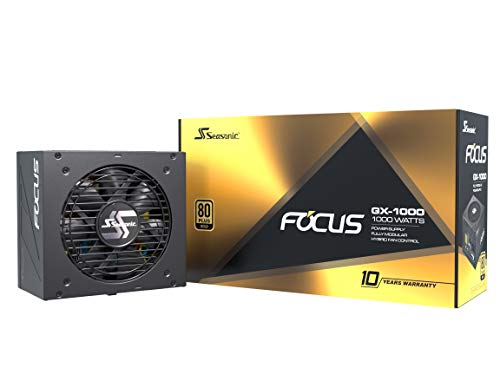 Seasonic FOCUS GX-1000, 1000W 80+ Gold, Full-Modular, Fan Control in Fanless, Silent, and Cooling Mode, Perfect Power Supply for Gaming and Various Application, SSR-1000FX.