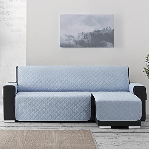 Lanovenanube Funda Chaise Longue Acolchado Sweet - Práctica Reversible 200 cm - Color Azul Claro