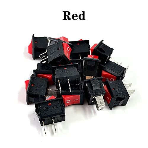 LZHAI Mini Interruptor De Balancín De 15pcs Espalda Botón Negro Y Rojo En El Botón De Conmutadores AC 250V 3A / 125V 6A 2 Pin I/O 10 * 15 Mm Interruptor De Encendido Rocker