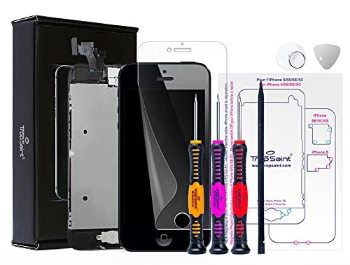 Trop Saint Kit di Riparazione Vetro Schermo per iPhone 5 Nero Ricambio Completo LCD Display - con Istruzioni, Attrezzi e Pellicola Protettiva