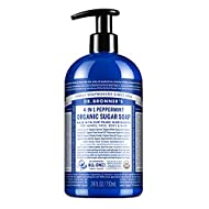Dr. Bronner's - Organic Sugar Soap (Peppermint, 24 Ounce) - Made with Organic Oils, Sugar and Shikakai Powder, 4-in-1 Uses: Hands, Body, Face and Hair, Cleanses, Moisturizes and Nourishes, Vegan