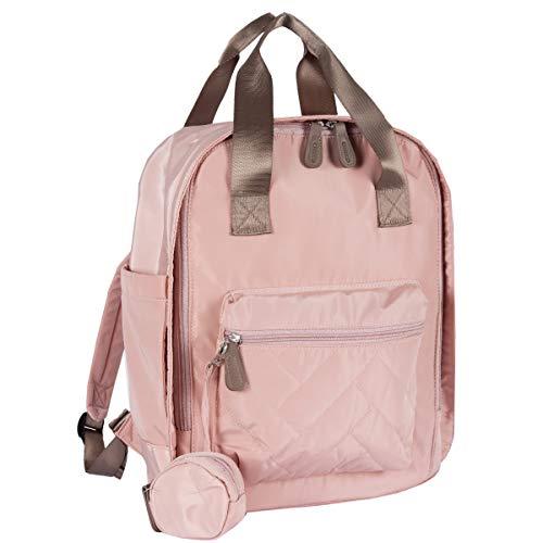 Chicco Mama-Tasche, Modell Rucksack, praktische Wickelunterlage, Öffnung mit Reißverschluss, verstellbare Schultergurte, bequeme Vordertasche, Farbe: Puderrosa