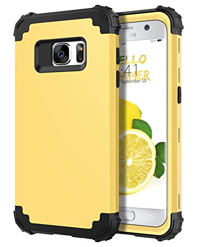DUEDUE Galaxy S7 Case, Heavy Duty Rugged Shockproof Drop Protection 3 in 1 Hybrid Hard PC Cover Soft Silicone Bumper Full Body Protective Case for Samsung Galaxy S7,Yellow/Black