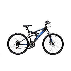Mountain Bikes Basis 1 Full Suspension Mountain Bike Disc Brakes 18 Speed Black Blue