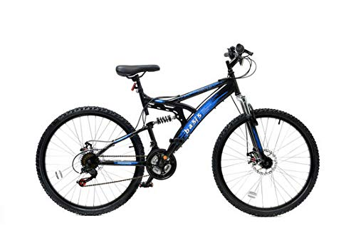 Basis 1 Full Suspension Mountain Bike Disc Brakes 18 Speed Black Blue