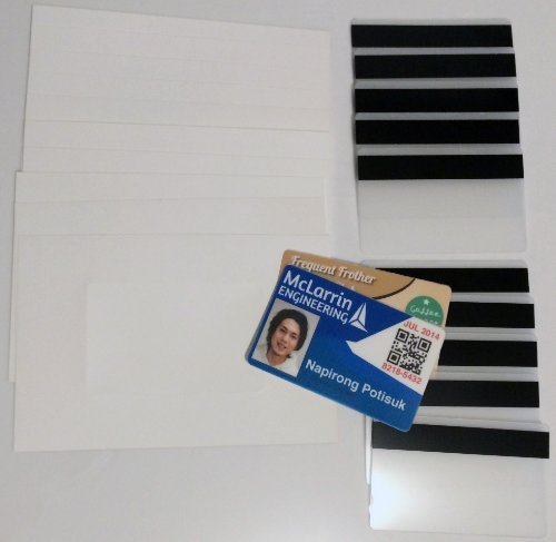 """10 Teslin ID Card Kit - 1-Up Inkjet Teslin Sheets & Butterfly Pouches WITH 1/2"""" HiCo Magnetic Stripes - Makes 10 Credit-Card Size PVC Like ID Cards"""