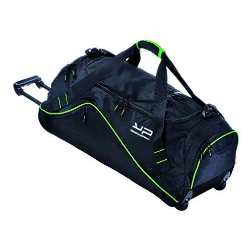 Bodypack Sporttasche 75 l mit einer Flasche bis zu 1,5 l und zahlreichen Taschen, Fitness-Tasche, große Kapazität auf Rollen oder Koffer mit Rollen, Schwarz und Grün
