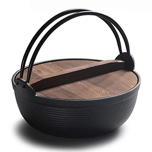 Cocotte En Fonte De Style Japonais Avec Couvercle En Bois Et Revêtement En émail De Qualité,25cm