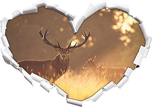 KAIASH 3D Pegatinas de Pared Ciervo en la luz Dorada de la mañana en Forma de corazón en Apariencia 3D Adhesivo de Pared o Puerta Adhesivo de Pared Decoración de Pared 92x64cm