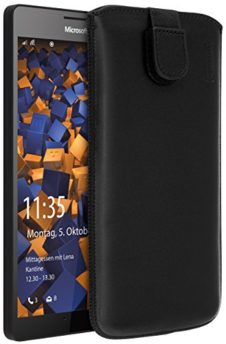 mumbi Echt Ledertasche kompatibel mit Microsoft Lumia 950 XL Hülle Leder Tasche Hülle Wallet, schwarz