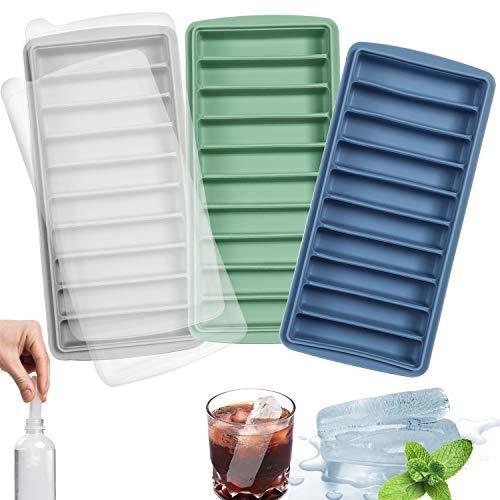 LessMo Stick Eiswürfelform, Silikon, mit Deckel, ideal für Sport- und Wasserflaschen, 10 Kavitäten