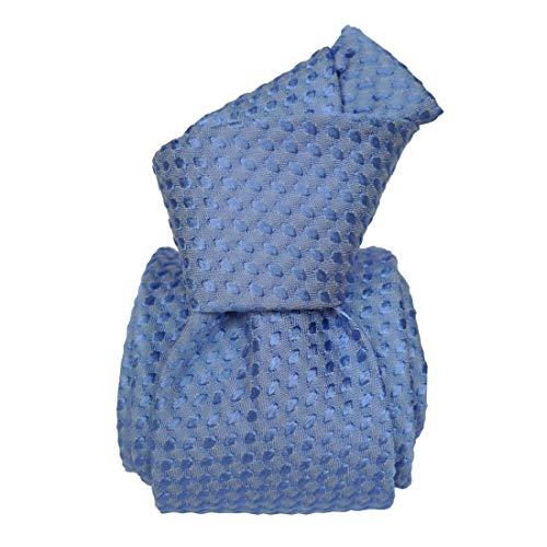 Segni et Disegni. Cravate artisanale. ALBA, Soie. Bleu, Uni. Fabriqué en Italie.