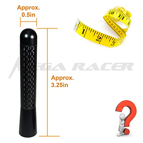 Mega Racer 1 x Universal Silver 4.9 in 124 mm Real Carbon Fiber Screw Type Short Stubby Antenna Replace Sport Auto Car SUV AM//FM